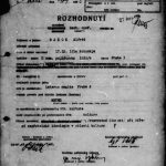 "The decision about opening a new personal operative file reg. no. 20368 MV on Alfréd Radok. The reason was ""subversive activity when disseminating hostile ideology in culture"". Counterintelligence Files Collection, file 588095 MV."