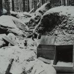 In December 1965 forest workers discovered several empty boxes of German origin in the area of Knížecí stolec, apparently removed from an underground shelter by unknown people. They were signed WaA 1944 (Waffenamt).