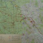 Část mapy VVP Boletice z roku 1961 se zakreslenými oblastmi průzkumu z roku 1965.