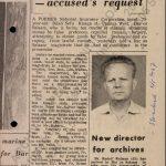 Článek tanzanského deníku The Standard o příjezdu nového ředitele Národního archivu v Tanzanii ze dne 9. 5. 1967